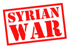 SYRIAN WAR. Red Rubber Stamp over a white background Royalty Free Stock Image