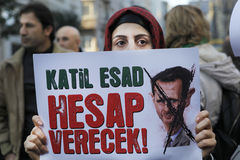 Syrians protest in Istanbul Stock Images