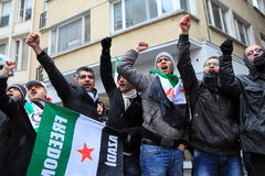 Syrians protest in Istanbul Royalty Free Stock Photo