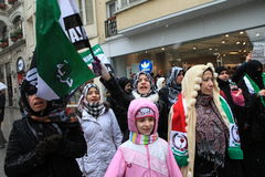 Syrians protest in Istanbul Stock Image