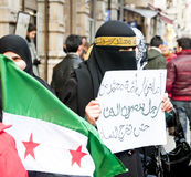 Syrians Protesting. Syrians of Turkey protesting the happenings and the brutality towards the civilians in Syria, Istiklal Road, Taksim, Istanbul, Turkey Stock Photos