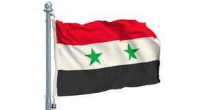 Syriansk flagga som vinkar på vit bakgrund, animering framförande 3d arkivfilmer
