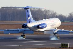 Syriansk landning för luftTupolev Tu-134 på Vnukovo den internationella flygplatsen Royaltyfri Foto