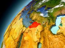 Syrien från omlopp av modellen Earth Arkivbilder