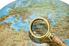 Syrien på det ryska jordklotet arkivfoton