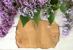 Syringa and Blank Paper. Bunch of lilac on white wooden old table with blank paper page, empty space for text Stock Photography