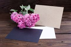 Syringa flowers on wooden table Stock Photos