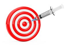 Syringe And Target. 3d Rendering Royalty Free Stock Photos