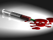 Syringe with Blood. 3D model of a syringe with blood made and rendered in Infini-D royalty free illustration