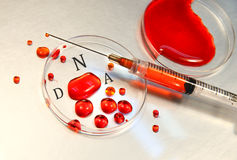 Syringe with blood Stock Photo