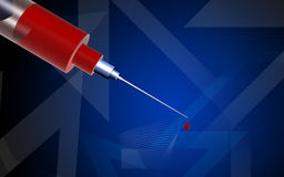 Syringe and  blood drops Royalty Free Stock Images