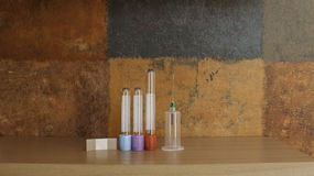 Syringe, blood specimen tubes and adhesive bandage. Complete kit for drawing blood Stock Photo