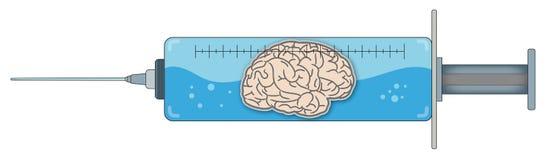 Syringe with Brain 1 Royalty Free Stock Image
