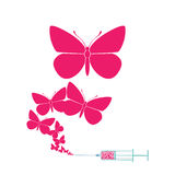 Syringe with butterfly. Royalty Free Stock Photography