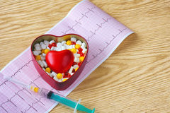 Syringe, cardiogram, box of tablet and red heart Royalty Free Stock Photography