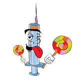 Syringe cartoon with lollipop Royalty Free Stock Photos