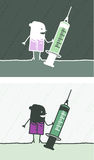 Syringe colored cartoon Stock Photos