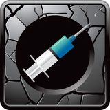 Syringe on cracked silver web button Royalty Free Stock Photo