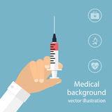 Syringe in doctor hand. flat design. vector illustration for web Stock Photos