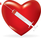 Syringe with a drop of medicine and heart Stock Image