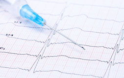 Syringe on ECG. Stock Photo