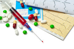 Syringe, electrocardiogram and tablets Stock Image