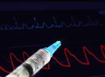 Syringe and electronic curves Royalty Free Stock Image