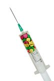 Syringe filled with complex medicine. Stock Images