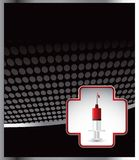 Syringe in first aid icon on black halftone banner. Black halftone template with a syringe inside of a first aid icon Royalty Free Stock Photos