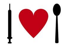Syringe, heart, spoon Royalty Free Stock Image