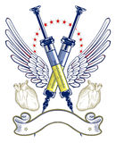 Syringe and heart wing emblem Stock Photo