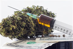 Syringe  hemp seeds and dried hemp leaves on dollar banknotes Royalty Free Stock Photo