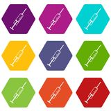 Syringe icon set color hexahedron Royalty Free Stock Photo