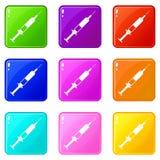 Syringe icons 9 set Royalty Free Stock Photo