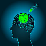A syringe injection into the brain of a truth serum straightening out curves, brainwashing, flashing Stock Image