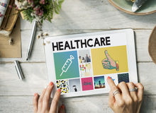 Syringe Injection Medication Healthcare Browsing Concept. Digital Tablet Healthcare Injection Concept Royalty Free Stock Photos