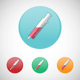 Syringe, injector vector icon set. Stock Photos