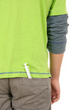 Syringe lies in trouser pocket. On white background Royalty Free Stock Photos