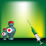 Syringe and medicine bottles. Colorful background with syringe and colorful medicine bottles with small red crosses. First aid concept Royalty Free Stock Images