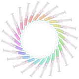 Syringe with medicine multicolored Royalty Free Stock Images