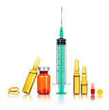 Syringe with the needle, medical Royalty Free Stock Photography