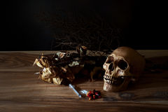 Syringe and poison pill with the skull Royalty Free Stock Photos