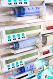 Syringe pumps in intensive care unit Stock Photo
