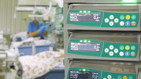 Syringe Pumps in Pediatric ICU. Syringe Pumps in Pediatric Intensive Care Unit stock video footage