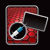 Syringe on red hexagon advertisement Royalty Free Stock Image