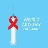 Syringe with red ribbon symbol of World AIDS Day. Vector illustration Royalty Free Stock Photos