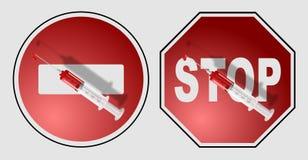 Syringe on a sign Stock Image