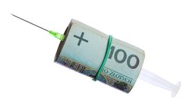 Syringe roll of polish money Royalty Free Stock Photos