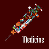 Syringe shaped health care or medicine icons. Healthcare or medicine icons in syringe shaped form with needle for injection. Tablet and pill, heart and pulse Royalty Free Stock Photos