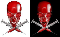 Syringe skull and cross bones Royalty Free Stock Photography